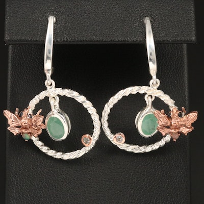 Sterling Emerald, Sapphire and Topaz Insect Motif Earrings