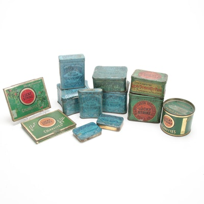 Lucky Strike and Edgeworth Cigarette and Pipe Tobacco Tins