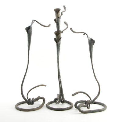 Jack Brubaker Wrought Iron Calla Lily Candleholders
