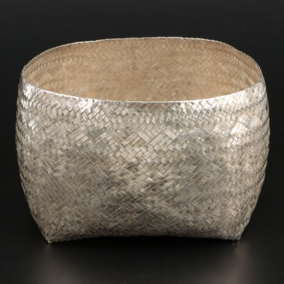Los Castillo Woven Silver Plate Basket, Late 20th Century
