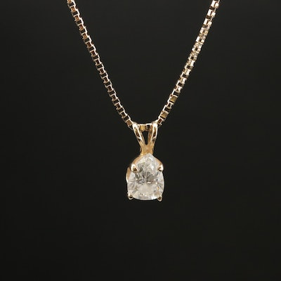 14K 0.75 CT Diamond Solitaire Pendant Necklace