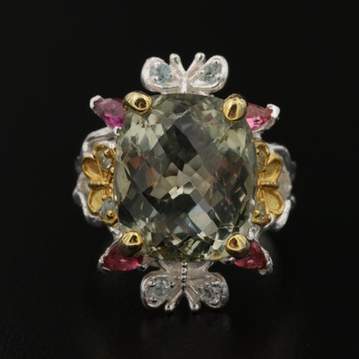 Sterling Citrine, Garnet and Cubic Zirconia Ring with Butterfly Accents