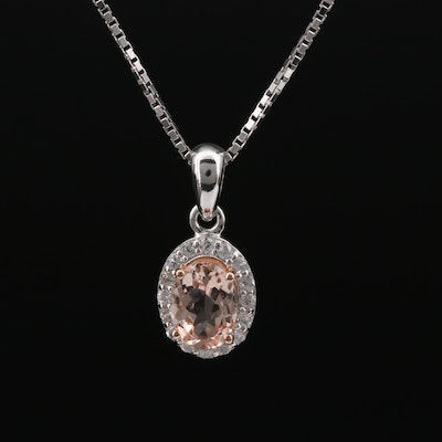 Sterling Morganite and White Topaz Pendant Necklace