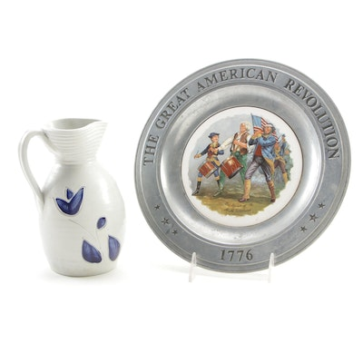 Williamsburg Pottery Stoneware Pitcher and Canton Pewter Bicentennial Plate