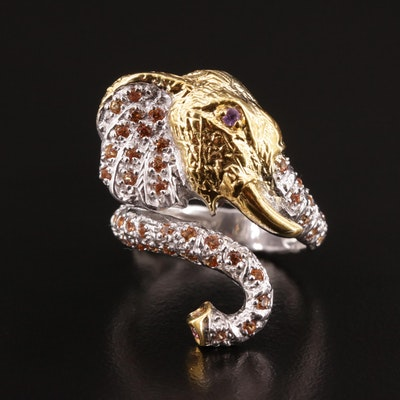Sterling Silver, Yellow Sapphire and Amethyst Elephant Ring