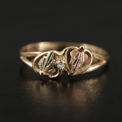 10K Diamond Leaf Motif Ring