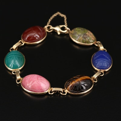 14K Scarab Bracelet with Tiger's Eye, Sardonyx, Chalcedony and More