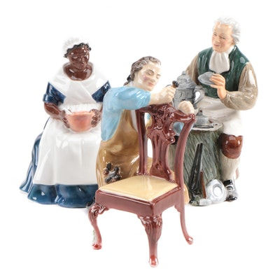 "Royal Doulton Ceramic Figurines Including ""The Craftsman,"" Mid to Late 20th C."