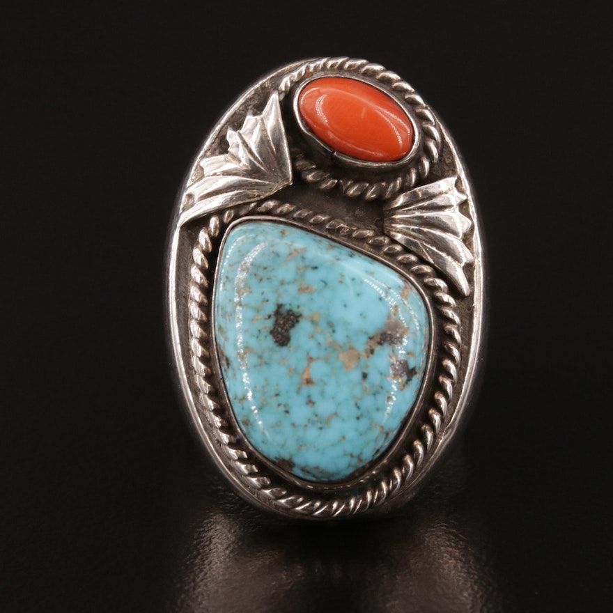 Western Style Sterling Silver Turquoise Nugget and Coral Ring