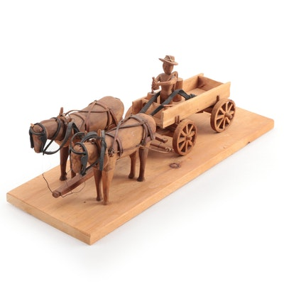 Folk Art Wood Carving of Horse and Cart with Figure and Still