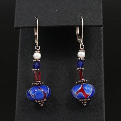Sterling Silver Garnet, Pearl and Art Glass Dangle Earrings