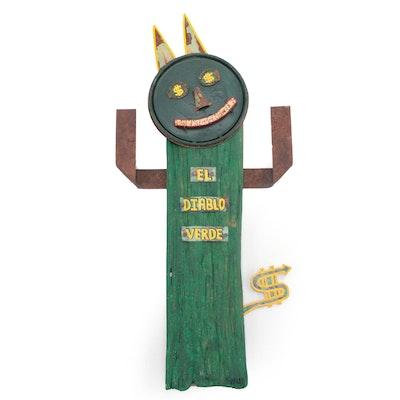 "Chub Hubbard Folk Art Mixed Media Sculpture ""El Diablo Verde"""
