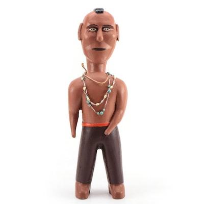 Leroy Lewis Folk Art Carved Wood Native American Figure