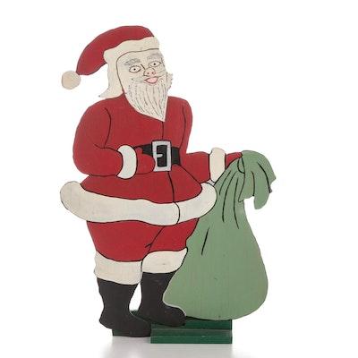 Santa Claus Folk Art Polychrome Wood Cutout