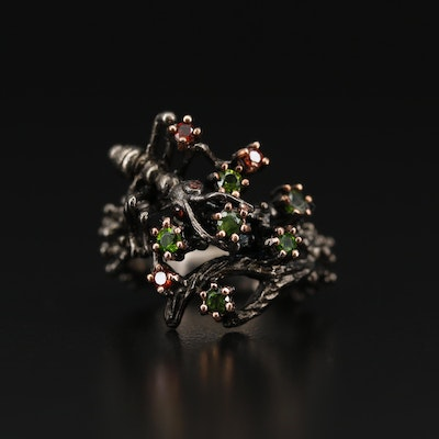 Sterling Silver Garnet and Diopside Ant Motif Ring