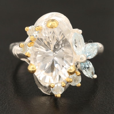 Sterling Silver Rock Quartz and Topaz Ring