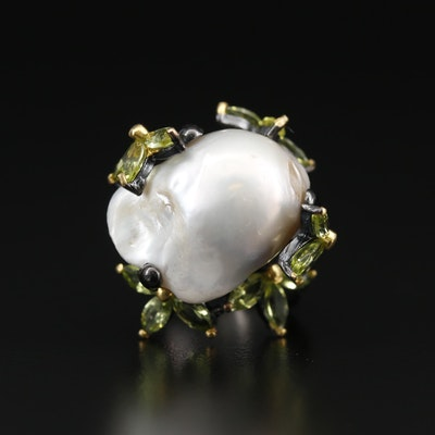 Sterling Silver Pearl and Peridot Ring