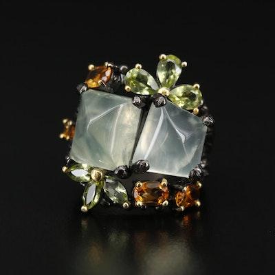 Sterling Silver Prehnite, Peridot and Citrine Ring