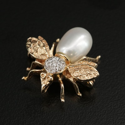 14K Pearl and Diamond Insect Motif Converter Brooch