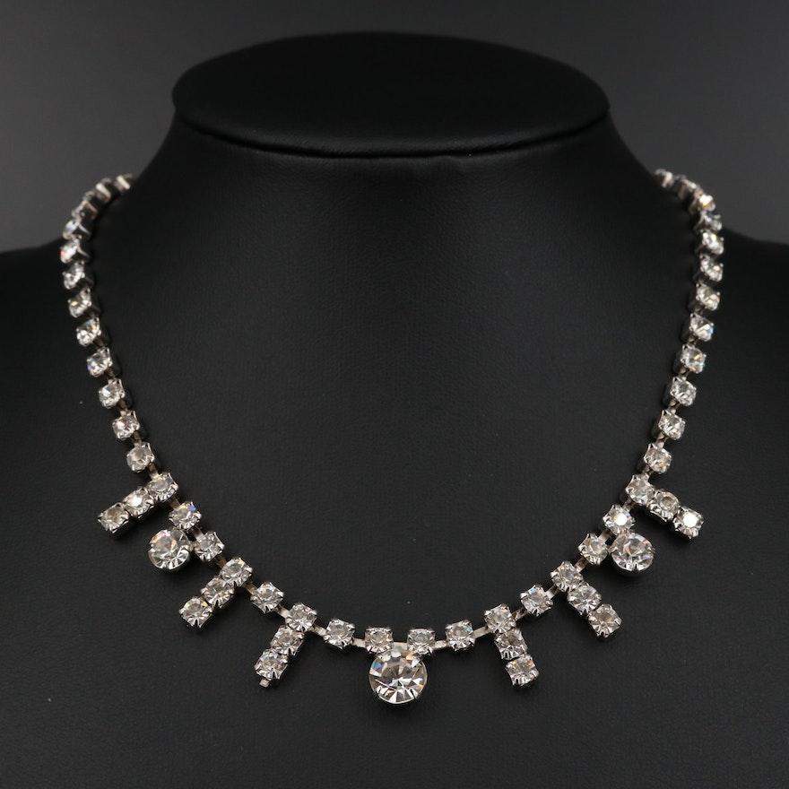 Vintage Rhinestone Fringe Necklace