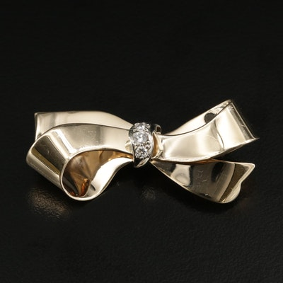1950s Fisher & Co Diamond Bow Brooch