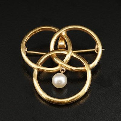 Circa 1935 Swedish 23K Pearl Valknut Rings Converter Brooch