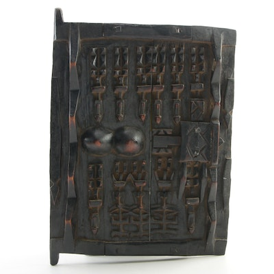 West African Dogon Style Carved Wood Granary Door