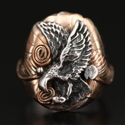 Western Style Sterling Silver Eagle Ring with Applique Accents