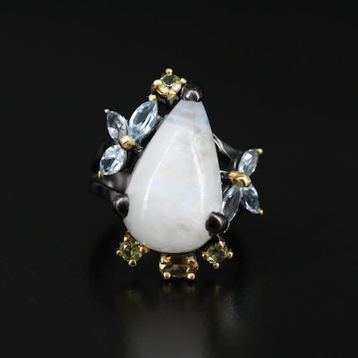 Sterling Silver Rainbow Moonstone Ring with Topaz and Peridot
