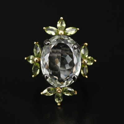 Oxidized Sterling Silver, Prasiolite and Peridot Floral Motif Ring