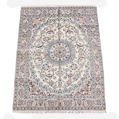 4'10 x 6'6 Hand-Knotted Persian Nain Wool Rug