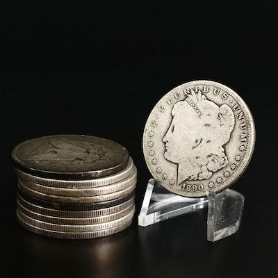 Ten Morgan Silver Dollars, 1880 to 1901