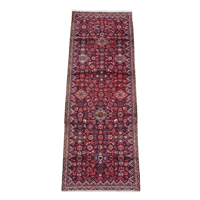 2'6 x 7'5 Hand-Knotted Persian Hamadan Wool Carpet Runner
