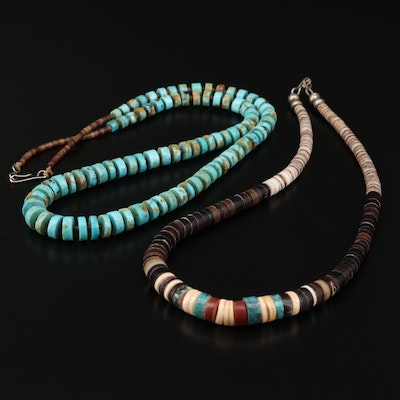 Heshi Bead Necklaces with Turquoise, Horn and Shell