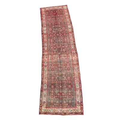 3'2 x 13'1 Hand-Knotted Persian Hamadan Wool Long Rug