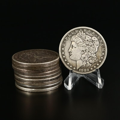 Ten Morgan Silver Dollars, 1880 to 1901