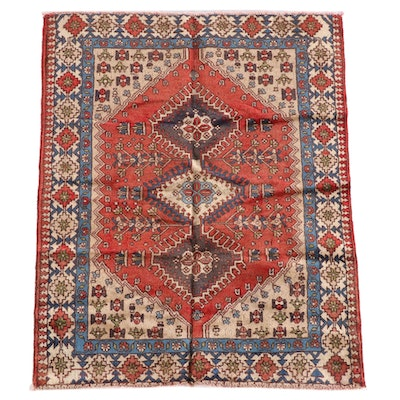 3'7 x 4'6 Hand-Knotted Persian Yalameh Wool Rug
