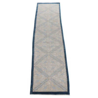 2'8 x 10'4 Hand-Knotted Sino-Persian Tabriz Silk Blend Runner Rug, 2010s