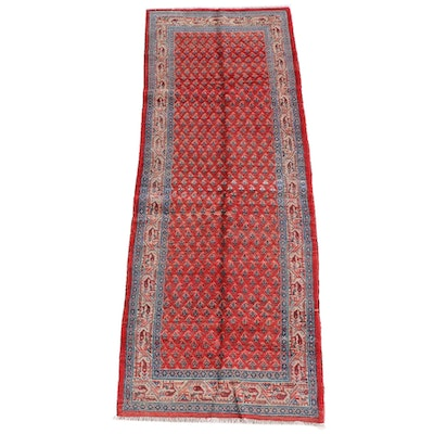 3'7 x 9'9 Hand-Knotted Persian Mir Serabend Wool Long Rug