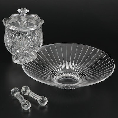 Crystal Centerpiece Bowl Bowl, Knife Rests, and Lidded Jar