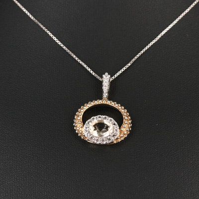 Sterling Silver Citrine and Topaz Necklace