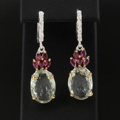 Sterling Silver Citrine and Garnet Drop Earrings