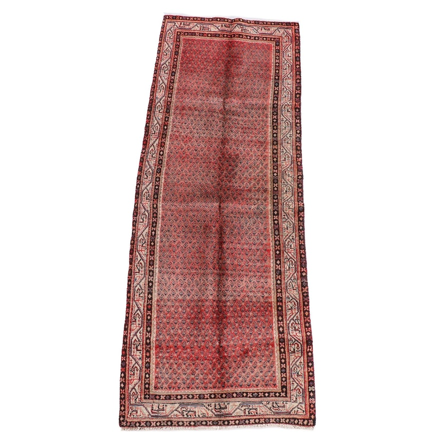 3'7 x 10'3 Hand-Knotted Persian Mir Serabend Wool Long Rug