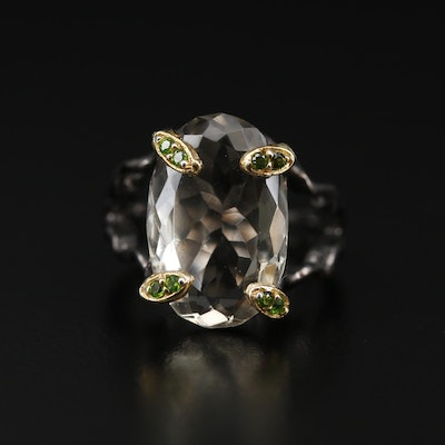 Sterling Silver Prasiolite and Diopside Organic Motif Ring