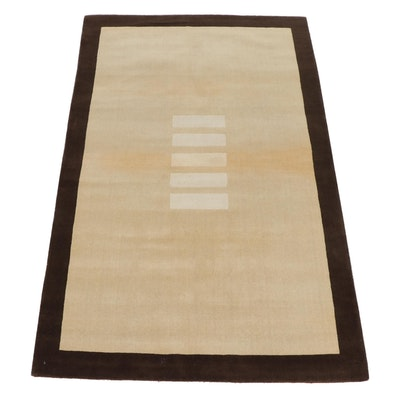 4'11 x 8'0 Hand-Tufted Indian Mid Century Modern Style Rug, 2000s