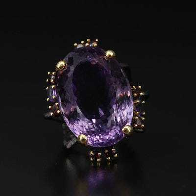 Sterling Silver Amethyst and Garnet Statement Ring