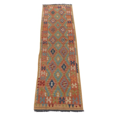 2'9 x 9'11 Handwoven Turkish Caucasian Kilim Runner Rug, 2010s