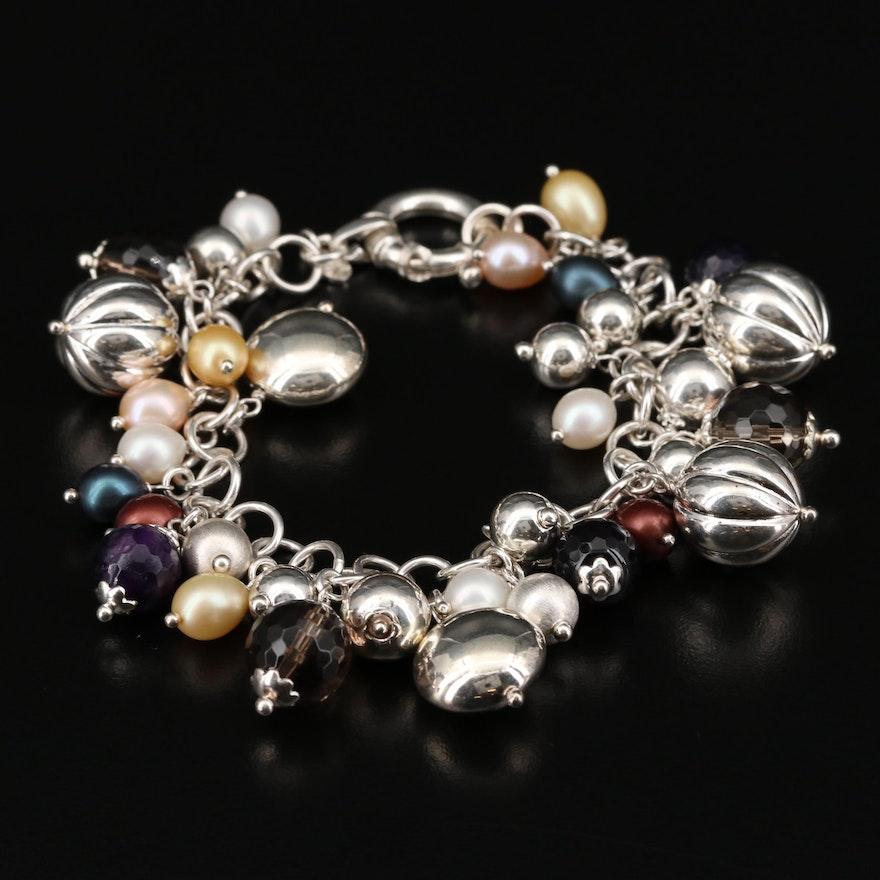 Milor Sterling Silver Smoky Quartz, Amethyst, and Cultured Pearl Fringe Bracelet