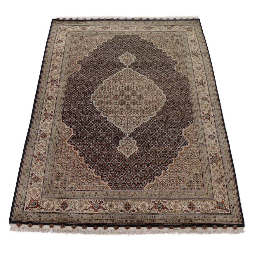 6'2 x 9'2 Hand-Knotted Indo-Persian Tabriz Silk Blend Rug, 2010s