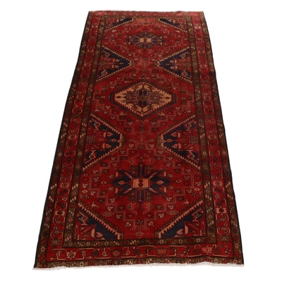 5'0 x 10'11 Hand-Knotted Persian Heriz Pictorial Rug, 1960s